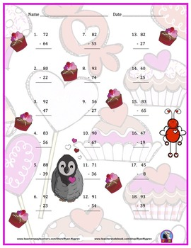 Two Digit Subtraction Worksheets - Valentine's Day Themed II - Vertical