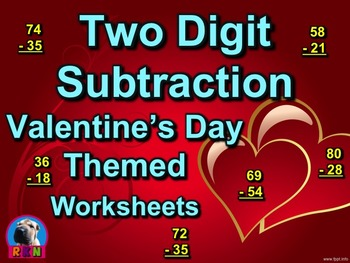 Two Digit Subtraction Worksheets - Valentine's Day Themed - Vertical