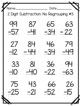 Double Digit Subtraction Worksheets- With and Without ...