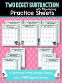 Two Digit Subtraction with Regrouping Practice Sheets