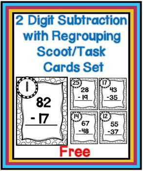 Two Digit Subtraction with Regrouping Scoot/Task Cards Set ~ Free