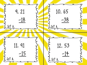 Two-Digit Subtraction with Regrouping Task Card Set