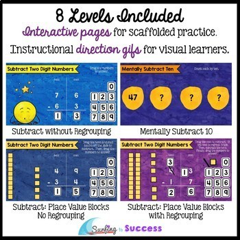 Two Digit Subtraction with Regrouping for the Google Classroom