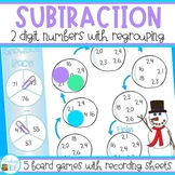 Two Digit Subtraction with Regrouping Games for Winter