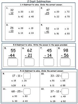 Two Digit Subtraction without Regrouping Assessment