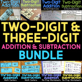 Two-Digit & Three-Digit Worksheets & Math Centers BUNDLE