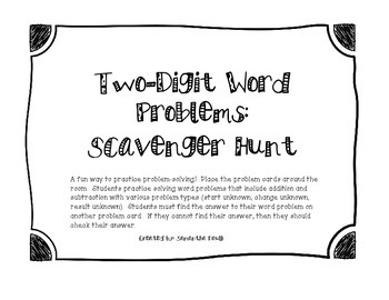 Two-Digit Word Problem Scavenger Hunt