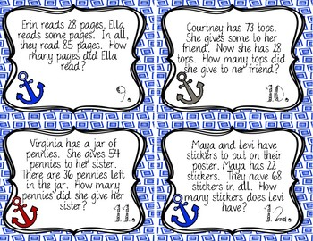 Two Digit Word Problem Task Cards (Unknown Addend, Start Unknown)