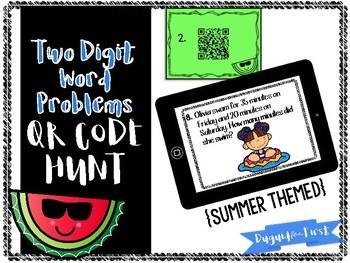 Two Digit Word Problems Digital Task Cards - QR Code Hunt! {Summer Themed}