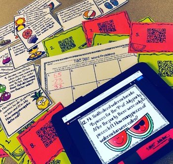 Two Digit Word Problems Digital Task Cards - QR Code Hunt! {Summer Themed}