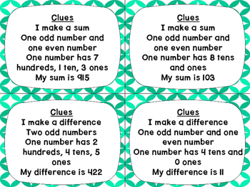 Adding and Subtracting Two Digit and Three Digit Numbers