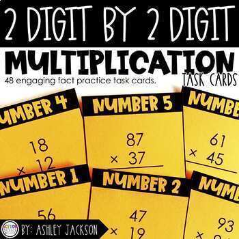 Two Digit by Two Digit Multiplication Fact Cards
