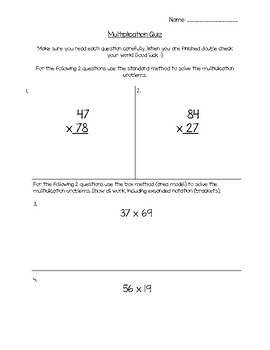 Two Digit by Two Digit Multiplication Quiz