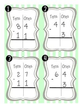 Two-Digit minus One-Digit and Two-Digit SCOOT (without regrouping)