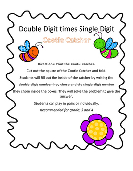 Two Digit times One Digit Cootie Catcher