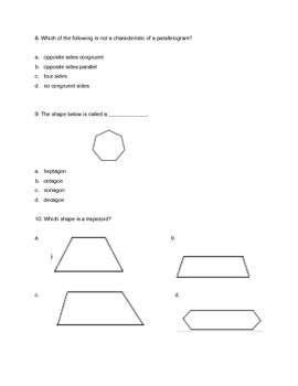 Two-Dimensional Figures Quiz