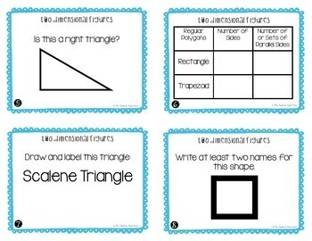 Two Dimensional Figures Task Cards | Two Dimensional Math Center