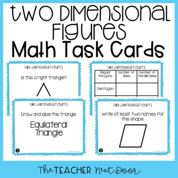 4th Grade Two Dimensional Figures Task Cards | Two Dimensional Math Center