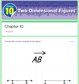 Two Dimensional Figures Test (Go Math Chapter 10 4th Grade)