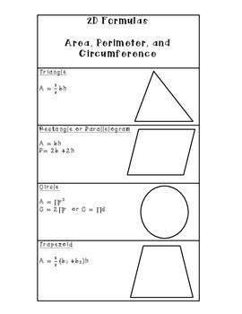 Two Dimensional Formulas
