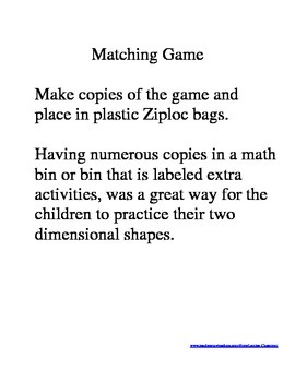 Two Dimensional Shapes - Matching Game: name, shape, description (grade 1-2)