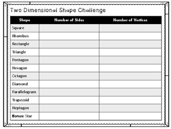 Two-Dimensional Shape Challenge Activity