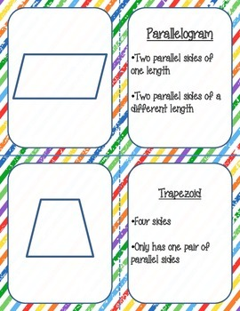 Two-Dimensional Shapes Flashcards and Matching