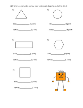 Two Dimensional Shapes-My Math Pretest