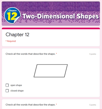 Two Dimensional Shapes Test (Go Math Chapter 12 3rd Grade)