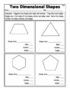 Two Dimensional Shapes Worksheets