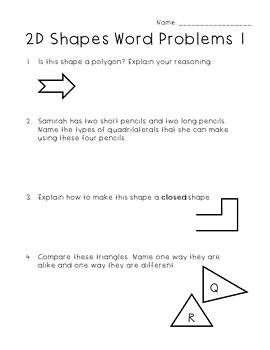 Two-Dimensional Shapes Worksheets - Third Grade GoMath!
