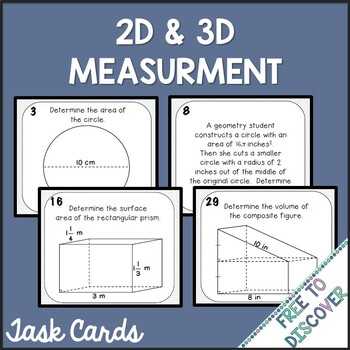 Two-Dimensional and Three-Dimensional Measurement Activity - Task Cards