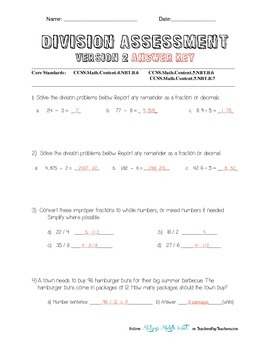 Two Division Assessments (with and without decimals) Key Included