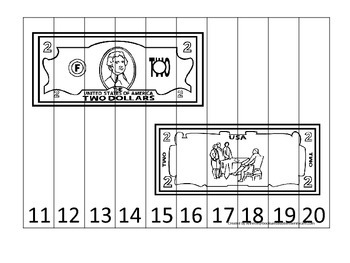 Two Dollar Bill 11-20 Number Sequence Puzzle. Financial education for preschool