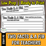 Two Facts and a Fib for Teachers - Great Icebreaker for PD