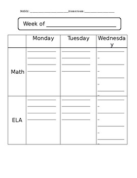 Two Format Student Agenda