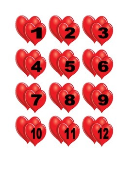 Two Hearts Numbers for Calendar or Counting Activity