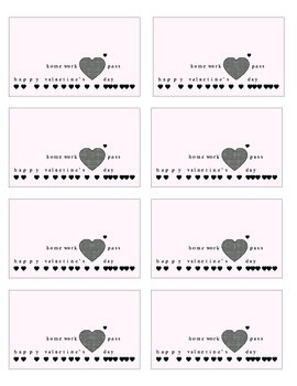 Two Illustrated Valentine's Home Work Passes