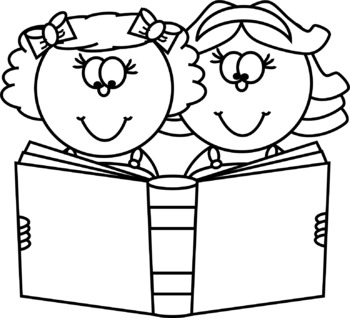 Two Kids with a Book Clip Art