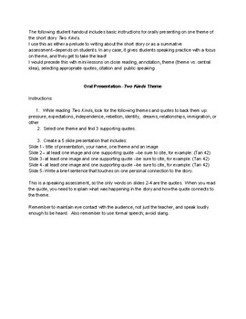 Two Kinds theme oral presentation