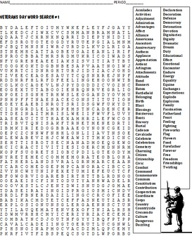 Two LONG Veterans Day Word Search Puzzles  FREE