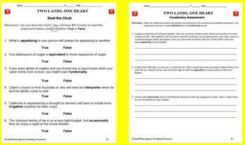 Two Lands, One Heart-Vocabulary Study/Common Core Aligned