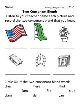 """Two-Letter Consonant Blend Assessment """"L"""" blends"""