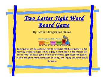 Two Letter Sight Word Board Game