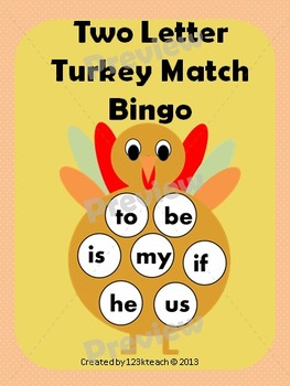 Two Letter Turkey Match & Bingo