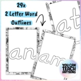 Two Letter Word Outlines Tracing or Colouring Set of 29 Wo