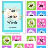 Two Letter Words Flashcard Set of 29 Colourful Cards for E