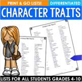 Character Traits-Differentiated Lists