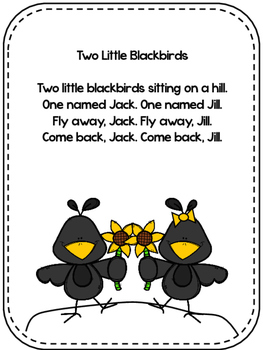 Two Little Blackbirds Nursery Rhyme Pack and Craft