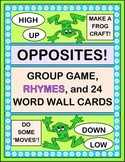 """Opposites!"" - Group Game, Frog Craft, Funny Rhymes, and 24 Word Wall Cards"